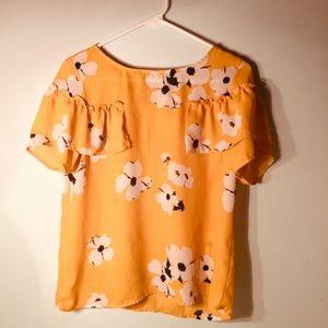 Floral Printed Ruffled Short Sleeve Blouse